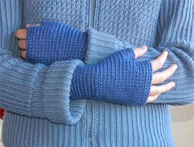 Free Crochet Basic Fingerless Mittens Pattern.
