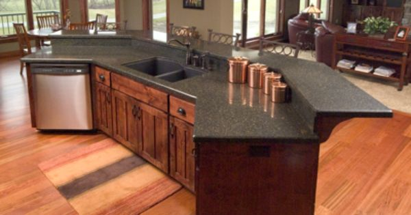Island Counter With Raised Bar Kitchen And Dining Room
