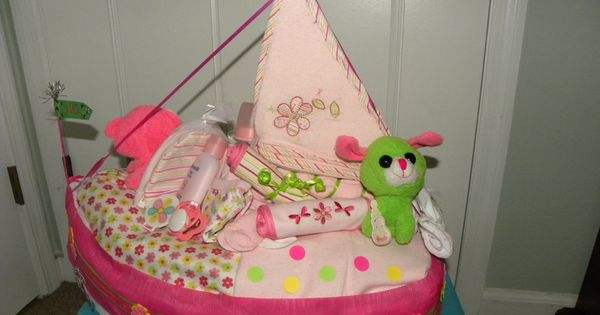 Baby Shower Gifts Hull ~ Left side i made this diaper boat for a baby shower the
