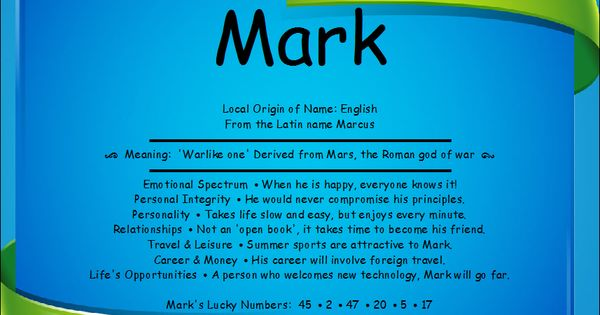 Mark Name Meaning First Name Creations Family Names