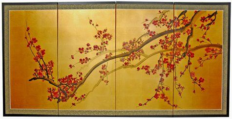 Extra Large Size Simple Asian Wall Art 6ft Wide Oriental Cherry Blossom Gold Leaf Screen Painting 199 00 Asian Wall Art Screen Painting Asian Painting