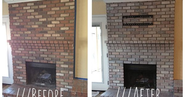 White Wash Brick Fireplace Before And After Living Rooms