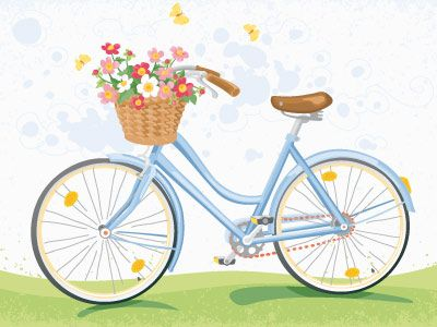 Vintage Bicycle With Flower Basket Bicycle Painting Bicycle Illustration Bicycle Art