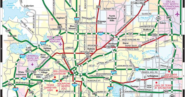 Fort Worth City closer map showing more tourist attractions – Fort Worth Tourist Attractions Map