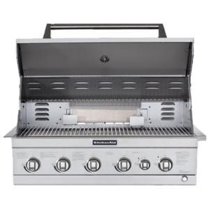 Kitchenaid 4 Burner Built In Propane Gas Island Grill Head In Stainless Steel With Searing Main Burner And Rotisserie Burner 740 0781 The Home Depot Outdoor Kitchen Built In Grill Outdoor Kitchen Appliances