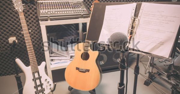 Selective Focus The Microphone And Musical Integuments The Guitar Lyrics Drum Bass Speakers Sound Music Mixer Background Music Mixer Drum And Bass Microphone