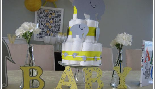 Gray and Yellow baby shower idea. I love the ABC frame art