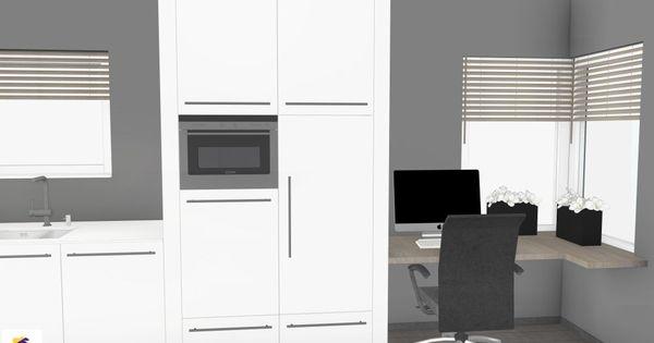 Moderne design keuken hoogglans met werkplek in 3d ontwerp monique van koppenhagen kleuren - Donkergrijs werkblad ...