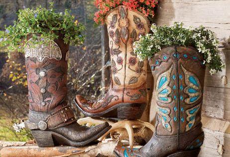 cowboy boot planters, Western Decor, Western Furniture & Cowboy Decor