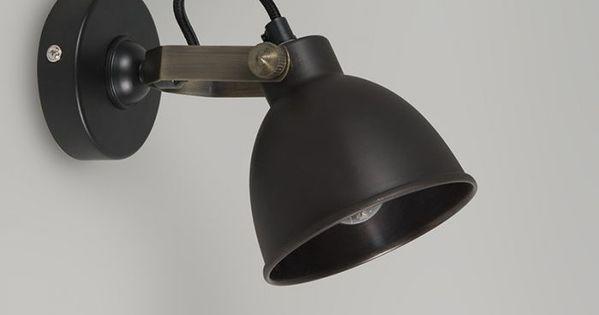 Applique Industrielle Noire Avec Interieur En Laiton Liko In 2020