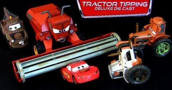 Disney Cars Tractor Tipping Deluxe Diecast Set Frank 3 Tractors