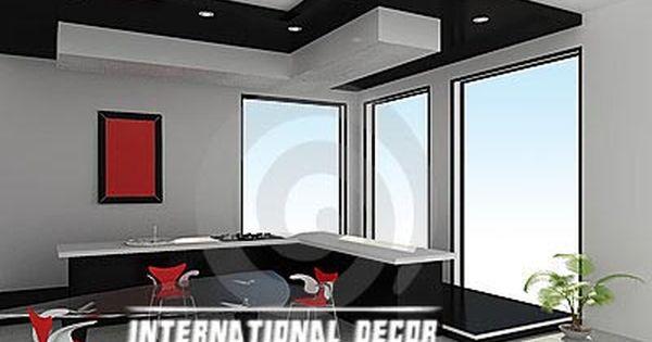 Gibson Board False Ceiling Design For Modern Kitchens Black And White Ceiling False Ceiling Living Room Ceiling Design False Ceiling Design