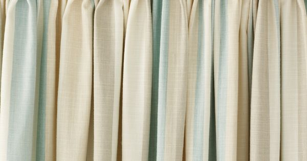 Awning Stripe Duck Egg Cotton Pencil Pleat Ready Made