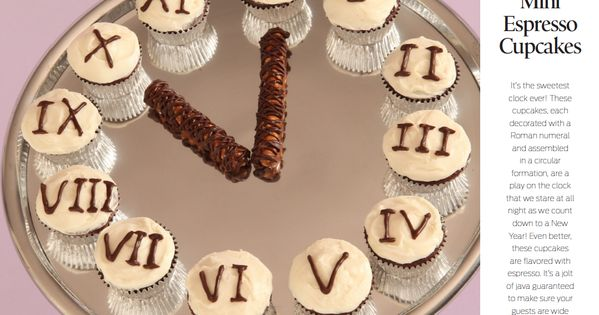 mini espresso cupcake clock for new year's and birthdays