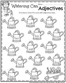 May First Grade Worksheets For Spring Planning Playtime Adjective Worksheet First Grade Worksheets Adjectives