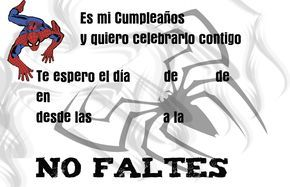 Tarjetas De Invitacion A Cumpleaños Del Hombre Araña Para