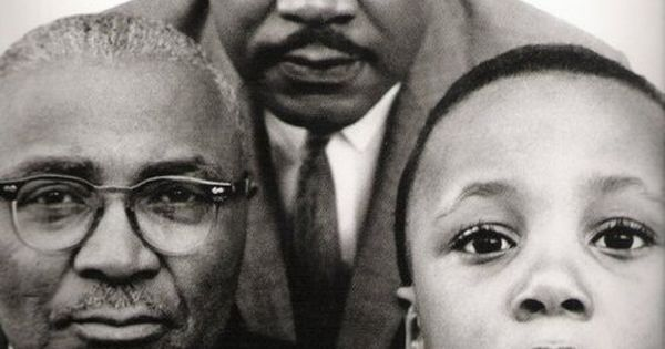 Martin Luther King, Jr with his father and son, Atlanta, Georgia, March