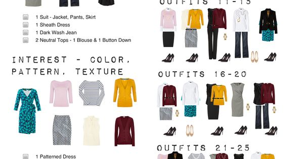14 Pieces 30 Outfits Posts: one suitcase: business casual capsule wardrobe