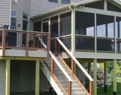 This Second Story Screened Porch Features Composite