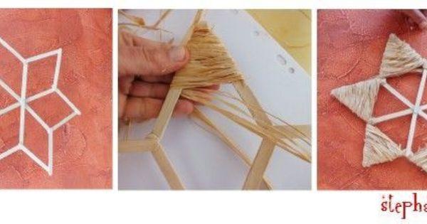 tuto deco noel facile faire une toile ou une couronne avec du raphia et des batonnets de glace. Black Bedroom Furniture Sets. Home Design Ideas