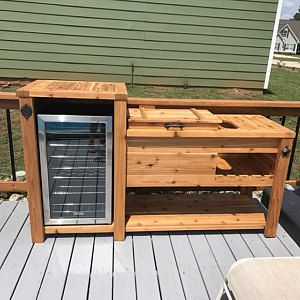 Rustic Wooden Cooler Table Bar Cart Wine Bar With Mini Fridge Console Table Storage Bar Cabinet Outdoor Rolling Cart Reclaimed Wood Wooden Cooler Outdoor Kitchen Design Outdoor Kitchen Design Layout
