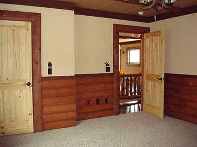 Rustic Bedroom Use Half Wall Of Log Siding Half Dry