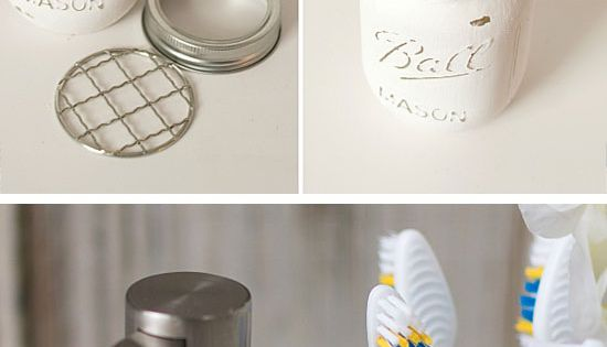20 diy bathroom storage ideas for small spaces mason jar for Small bathroom jars