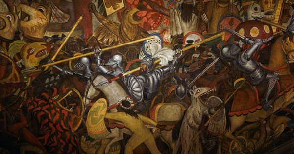 Conquistadors in from conquest to 1930 by diego rivera for Aztec mural tattoos