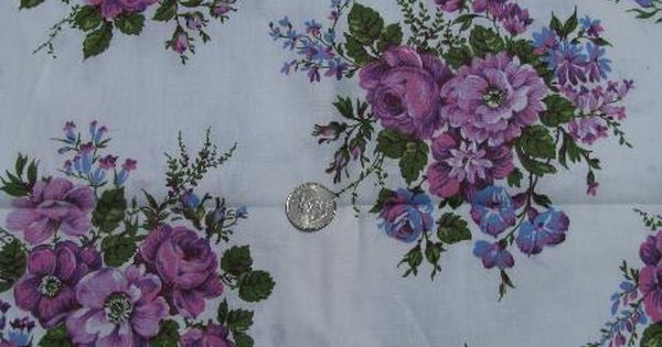 1950s Vintage 36 Wide Cotton Print Fabric Lavender Rose Bouquets Lavender Rose Bouquet Printing On Fabric Lavender Roses