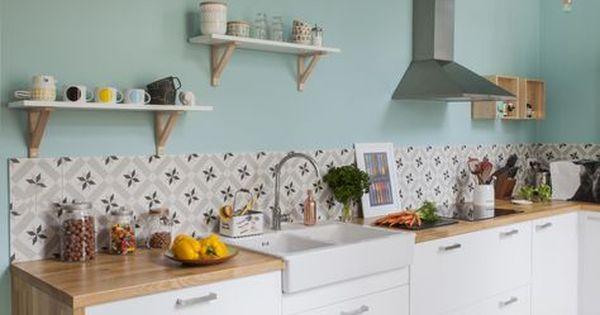 cuisine vintage avec carreaux de ciment et couleur pastel ambiance pastel pour adoucir la d co. Black Bedroom Furniture Sets. Home Design Ideas