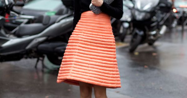 High Waisted Quilted Skirt: Paris Street Style Spring 2013 - Paris Fashion