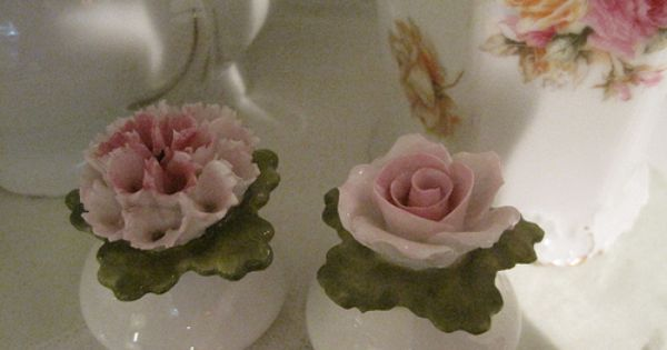 White With Pink Rose And Carnation Salt And Pepper Ceramic Flowers Porcelain Flowers Shabby Chic Cottage