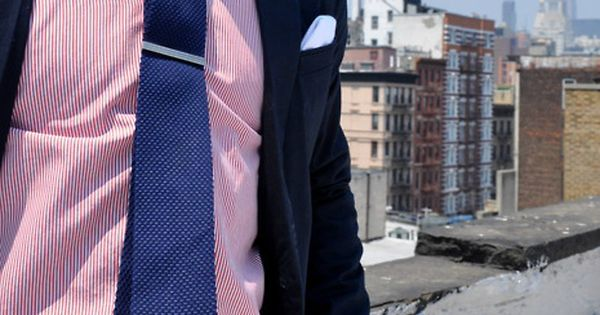 Pink Shirt, Blue Tie, White Plants