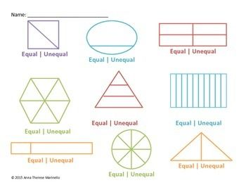 Dividing Regions Into Equal Parts Equal Or Unequal Learning Fractions Basic Math 3rd Grade Math Worksheets