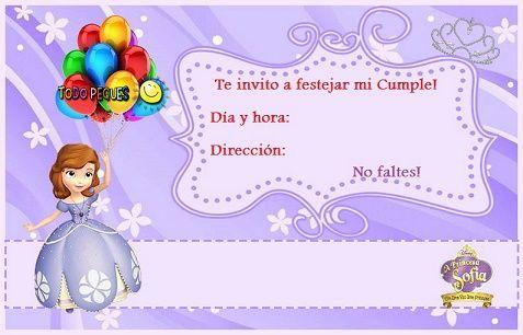 Invitaciones De Cumpleaños De Princesita Sofía Princesita
