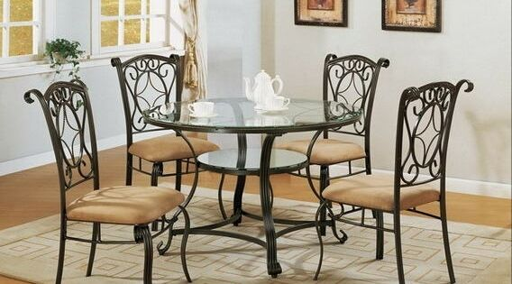 Crown Mark 1843t 5pc 5 Pc Jessica Metal And Glass Dining Table Set