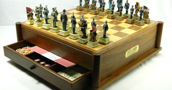 Civil War Soldiers Pieces Complete Chess Game Set The