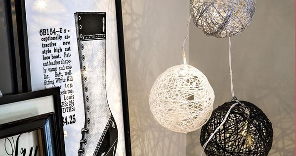 diy pas pas boule de no l ficelle en guirlande lectrique halloween pinterest noel. Black Bedroom Furniture Sets. Home Design Ideas
