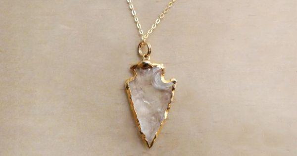 Quartz arrow necklace