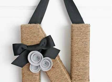 Driven By Décor: Homemade Christmas Gifts: I LOVE this jute-wrapped initial, and