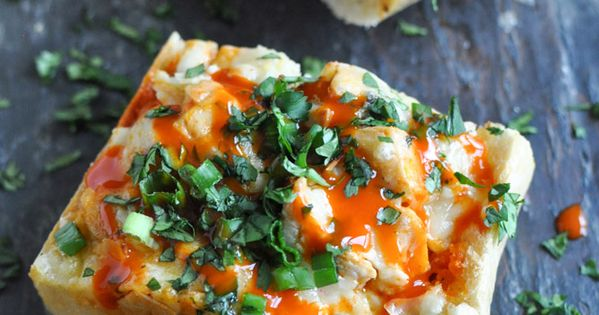 30 minute buffalo chicken French bread pizzas