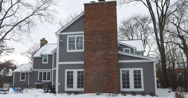 James hardie siding in aged pewter with arctic white trim for James hardie exterior design center
