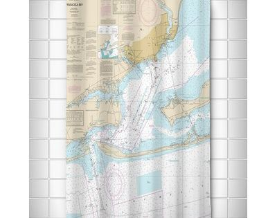 Island Girl Home Nautical Chart Pensacola Bay Fl Shower Curtain Nautical Shower Curtains Curtains Shower Curtain