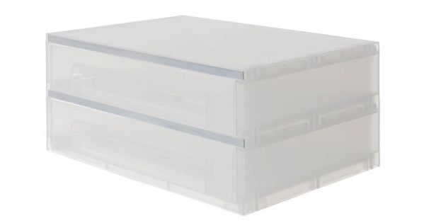 X 2 High A4 Landscape Drawers Pp Frosted Outdoor Storage Box Study Office