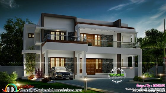 Beautiful Home With Plan By Absolute Solution Kerala Home Design House Design Cool House Designs House Design Trends