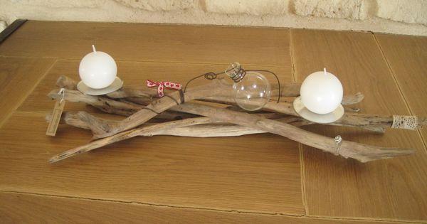 Centre de table en bois flott avec bougies soliflore et for Idee deco avec du bois flotte