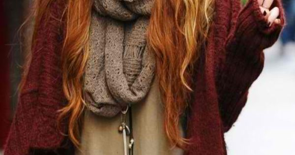Autumn fashion layers sweater scarf