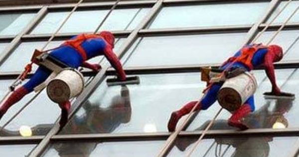 At a children's hospital in London, window washers have a clause in
