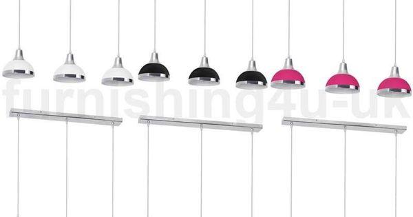3 Bar Pendant Light Hanging Chrome Effect 3 Way Mounted