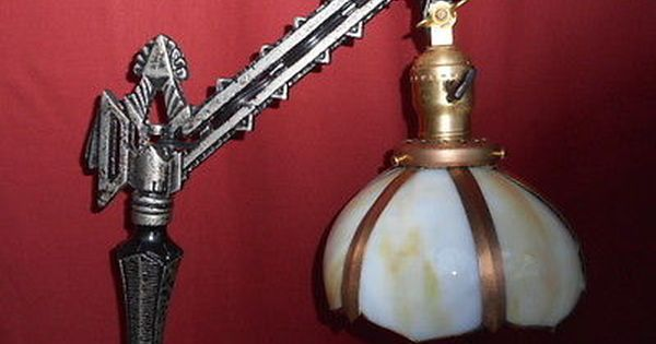 1920s Art Deco Bridge Lamp W Glass Shade Hubley Antique Lighting Glass Shades 1920s Art Deco
